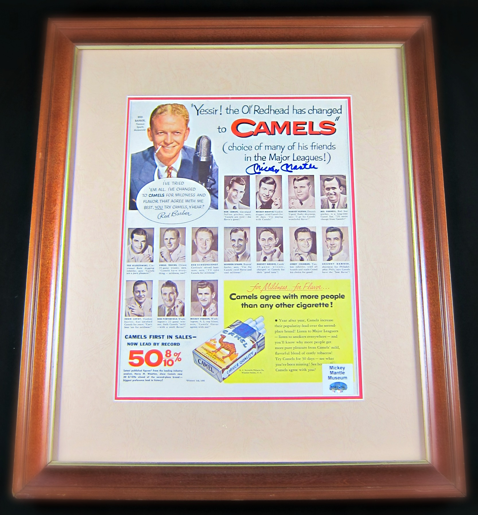 Mickey Mantle Autographed Camel Cigarettes Advertisement Display