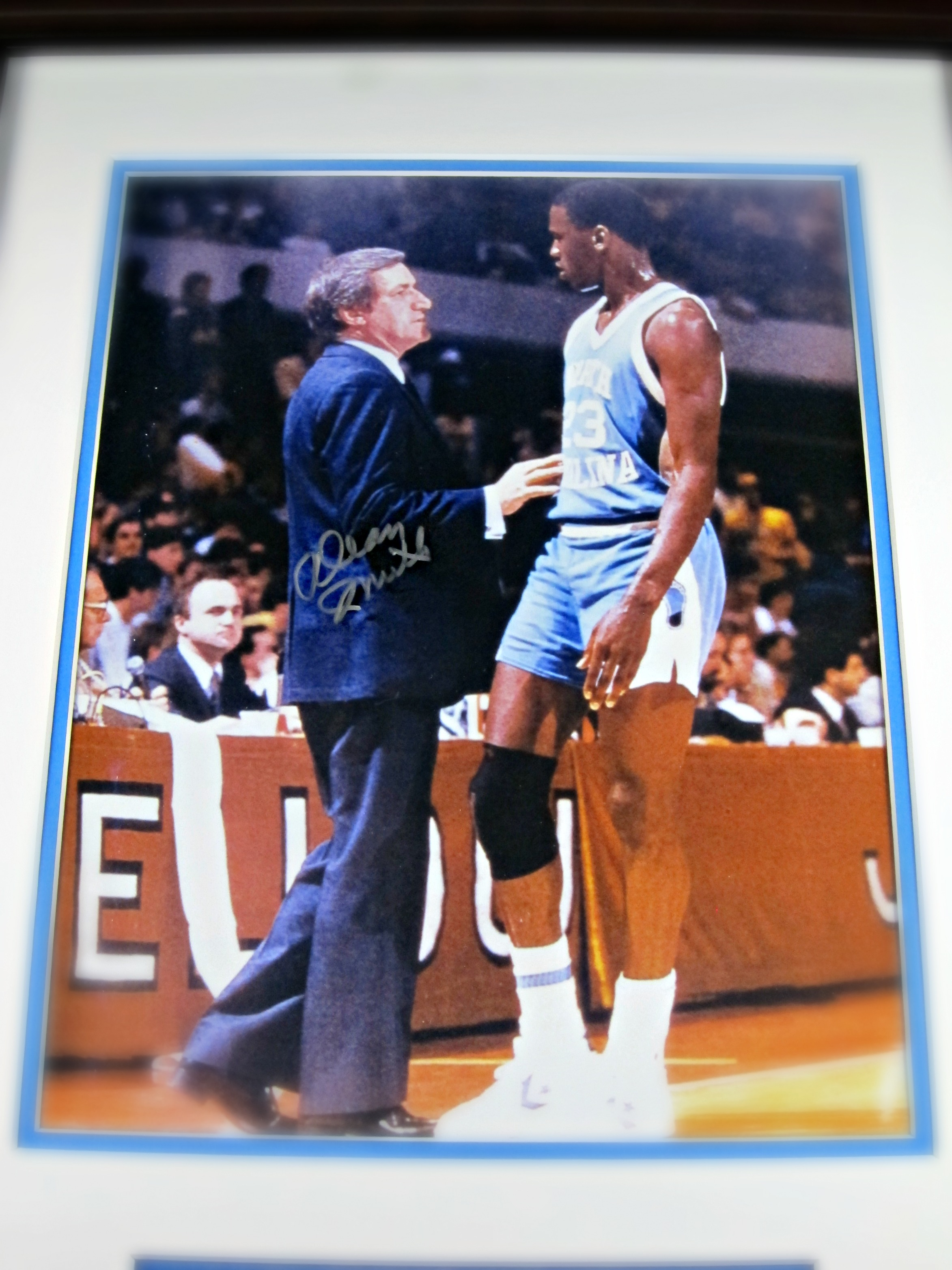 611f44aae76 Michael Jordan Framed cut signature & picture with Dean Smith ...