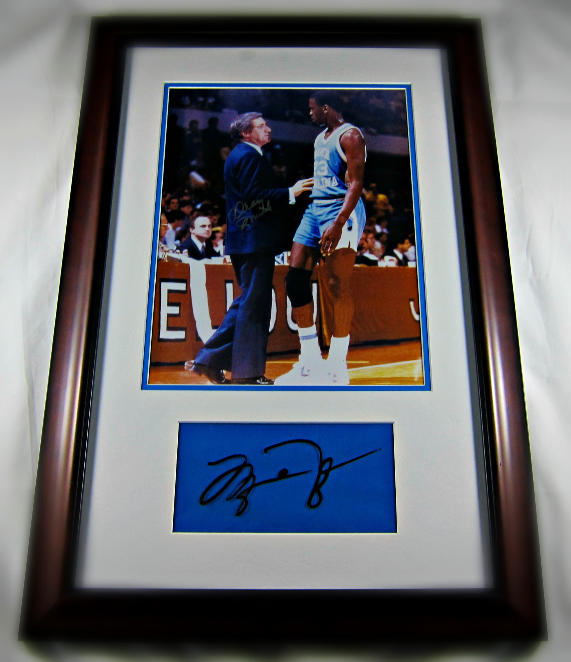 15704e09f76 Michael Jordan Framed cut signature & picture with Dean Smith - Memorabilia  Center