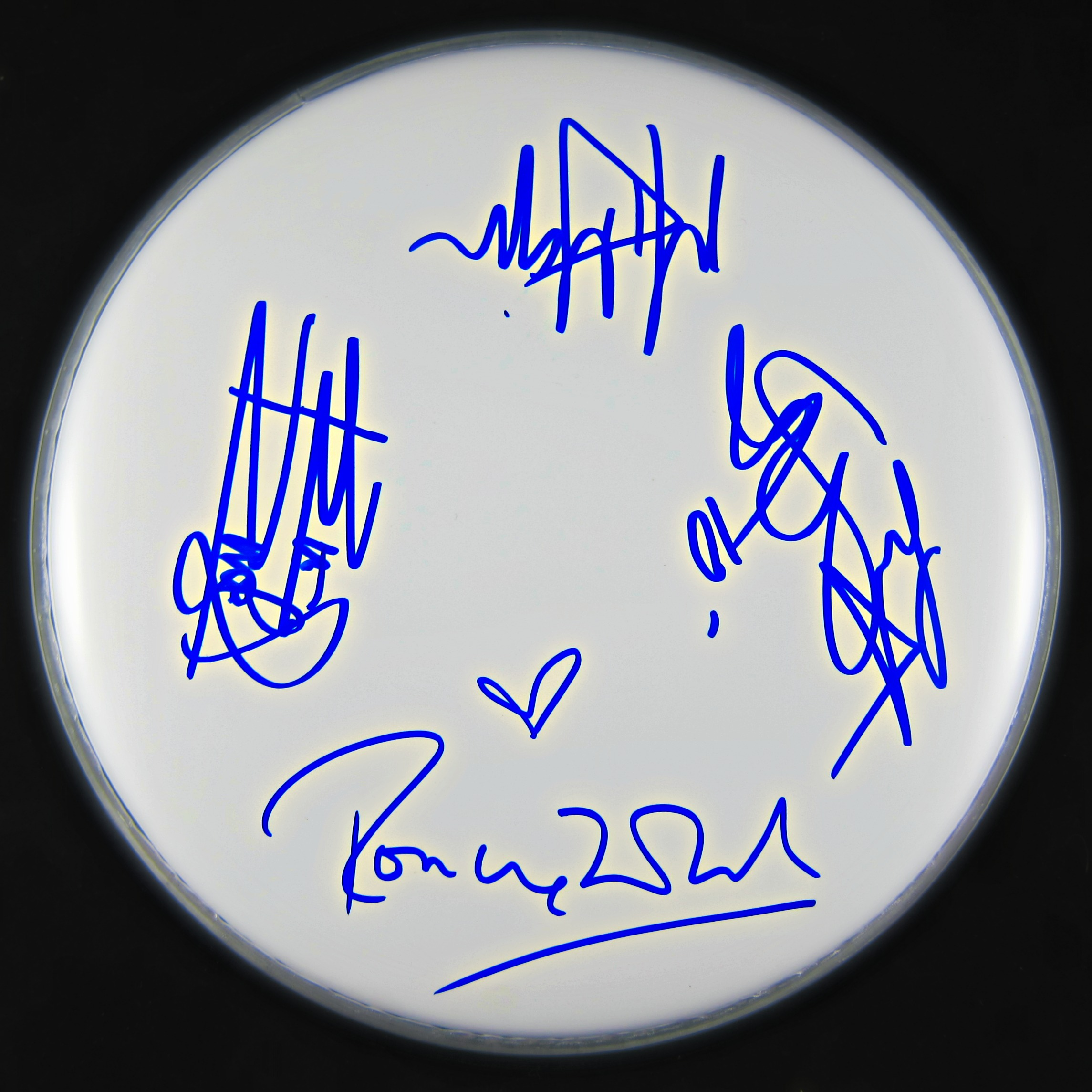 the rolling stones autographed band signed drumhead