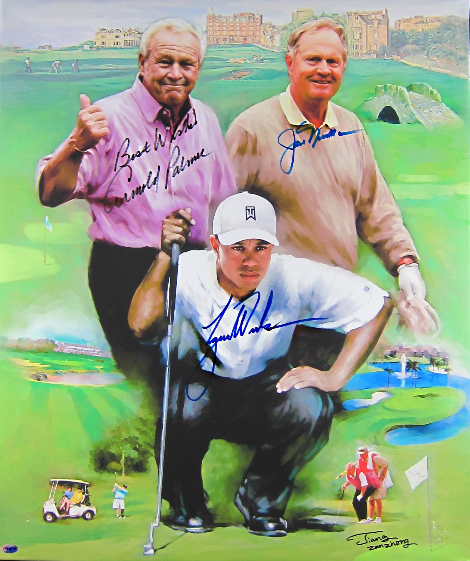 Tiger Woods Arnold Palmer Amp Jack Nicklaus Autographed 20