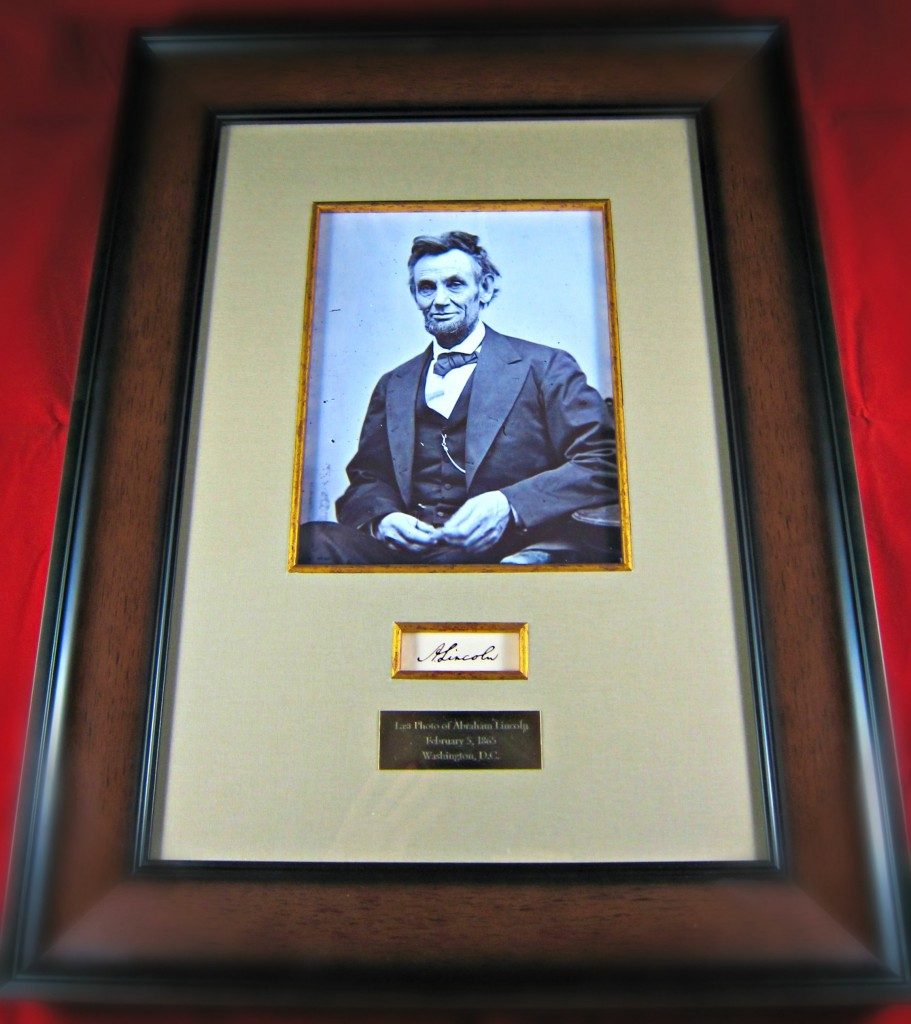 Abraham Lincoln Framed Cut Signature And Picture