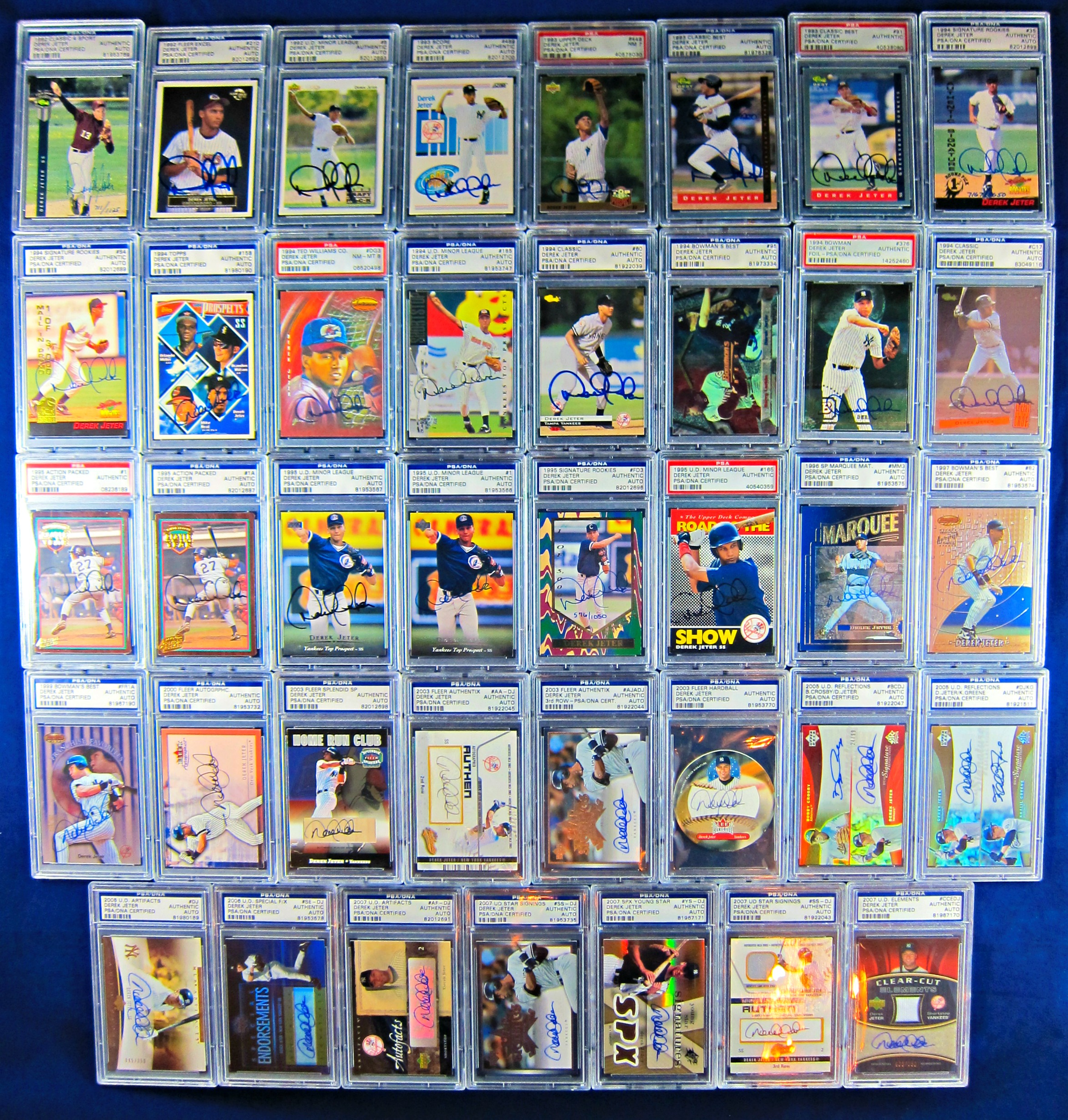 The Ultimate Derek Jeter Autographed Card Collection Psadna Authenticated