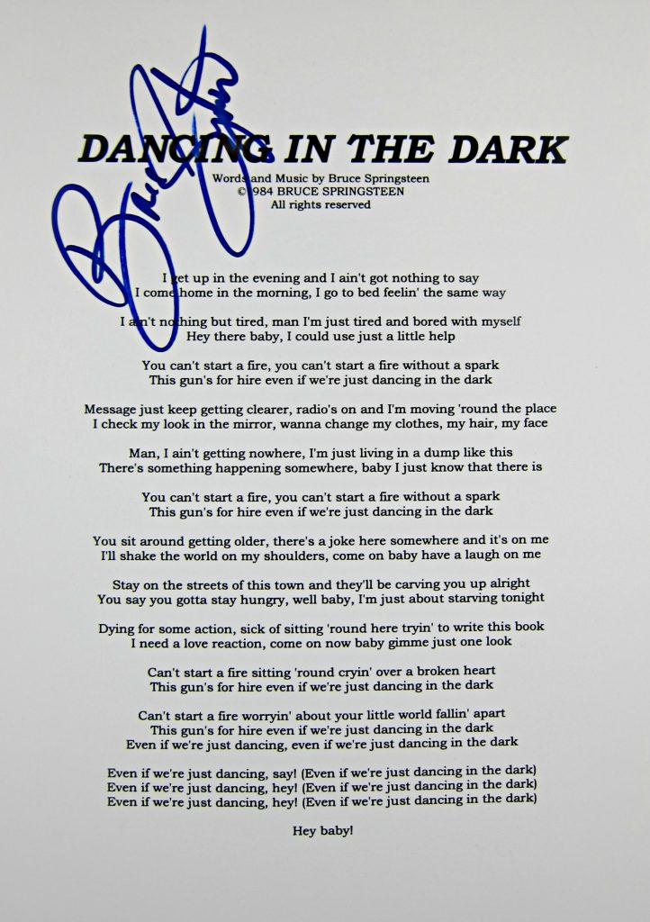 Bruce Springsteen Signed Lyric Sheet Memorabilia Center