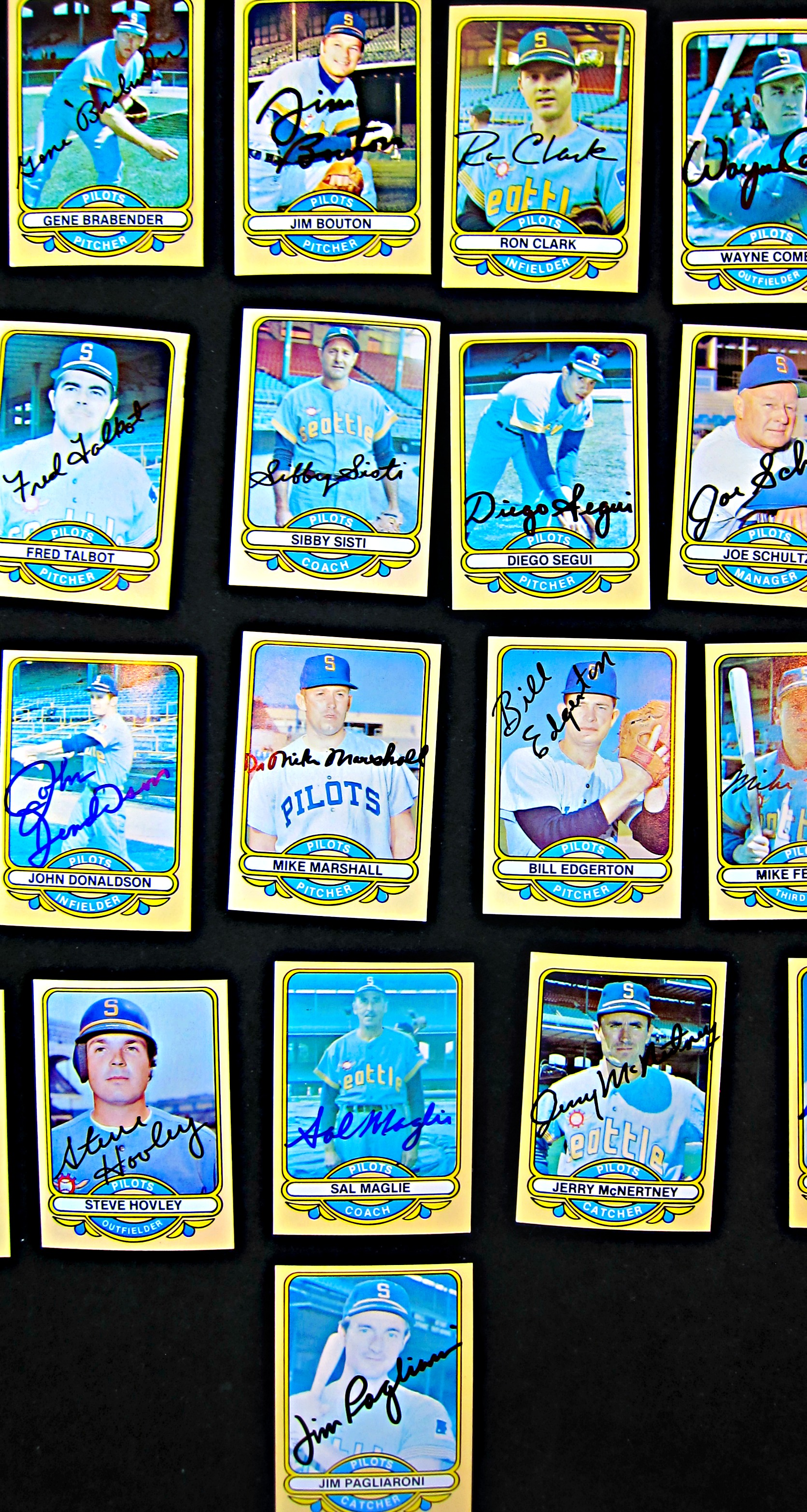 1969 seattle pilots signed card group