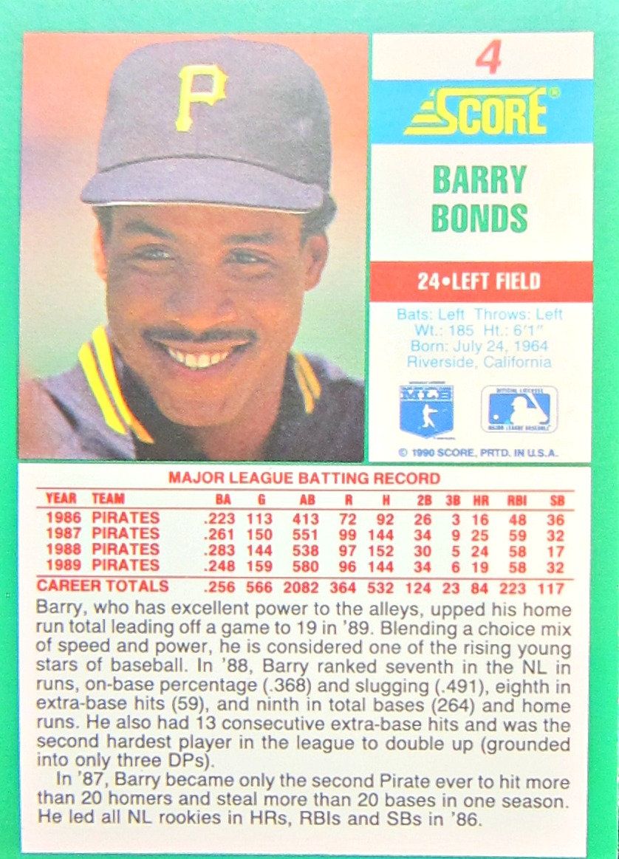 Barry Bonds Autographed Card