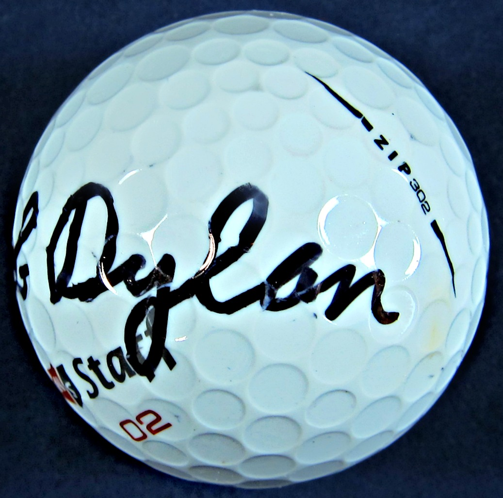Bob Dylan signed golf ball