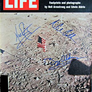 Apollo XI crew signed magazine