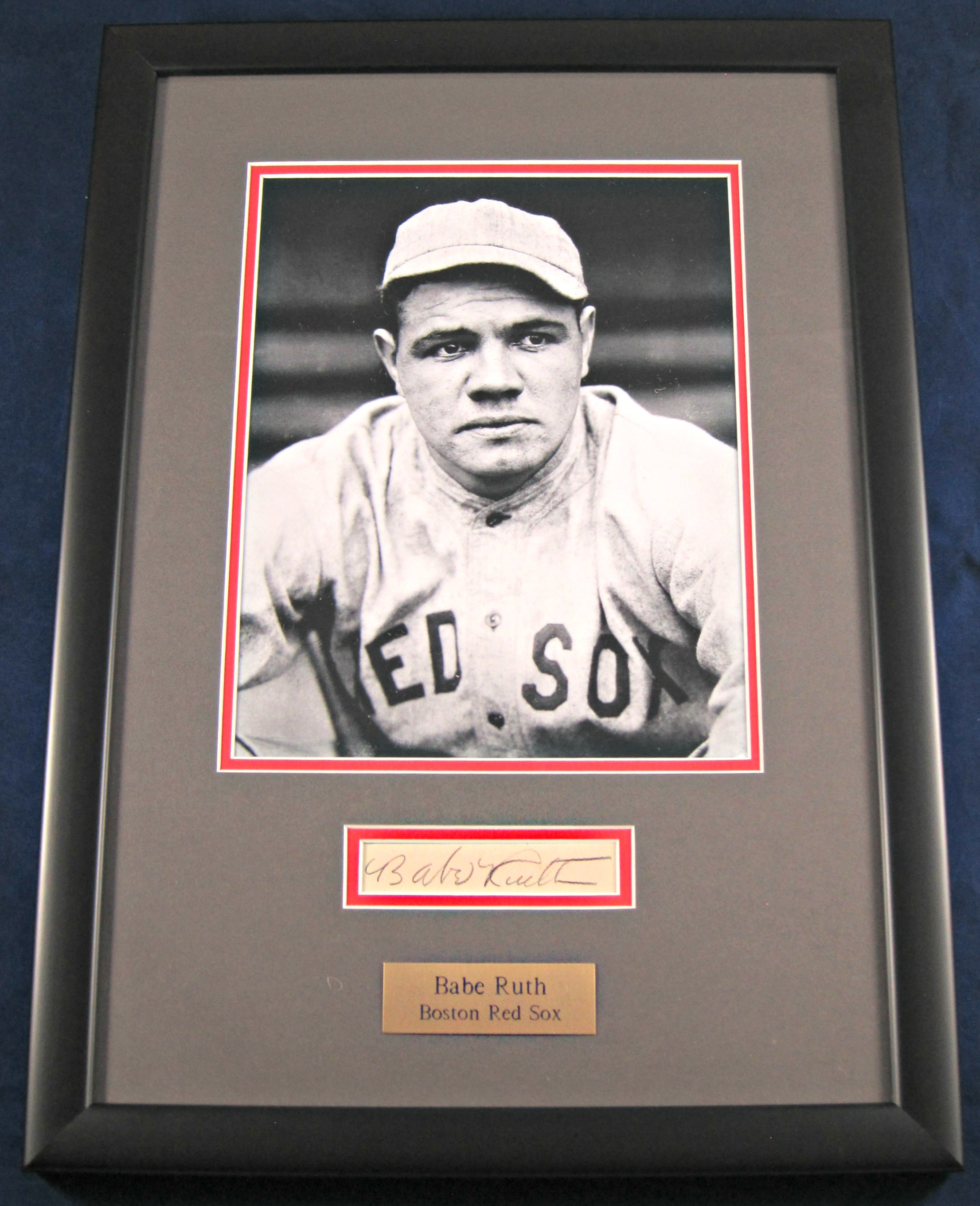 Babe Ruth Boston Red Sox Autographed Display