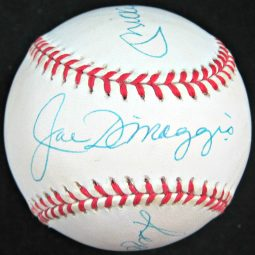 Dimaggio Mantle Jackson Mattingly Autographed Baseball