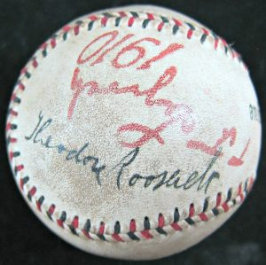 Babe Ruth Theodore Roosevelt Autographed Official National League Spalding Baseball